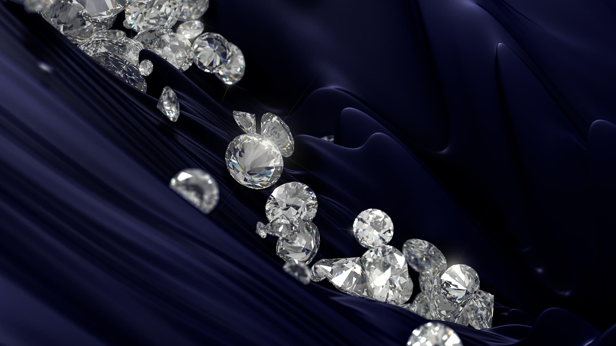 Lusix lab-grown diamonds. White diamonds falling on blue texture.